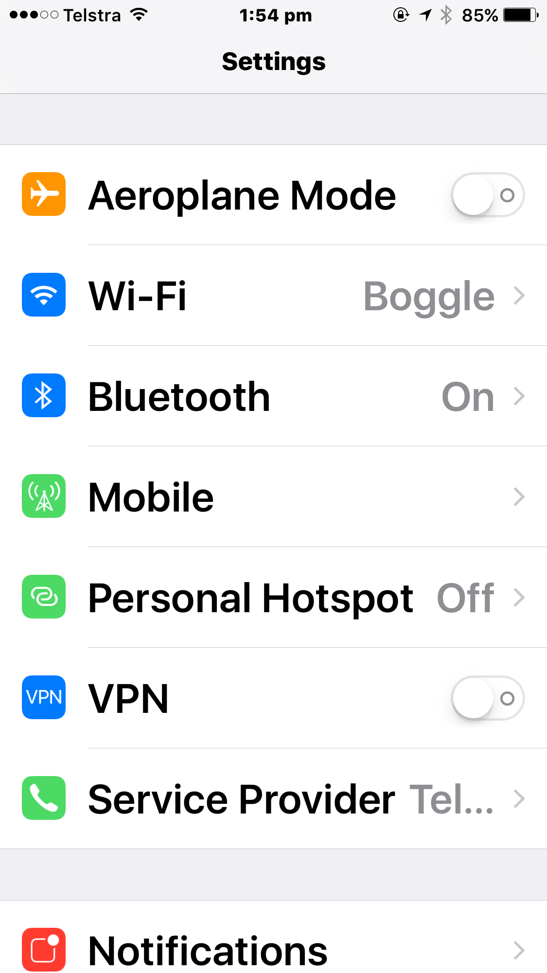 iPhone settings screen with large bold text