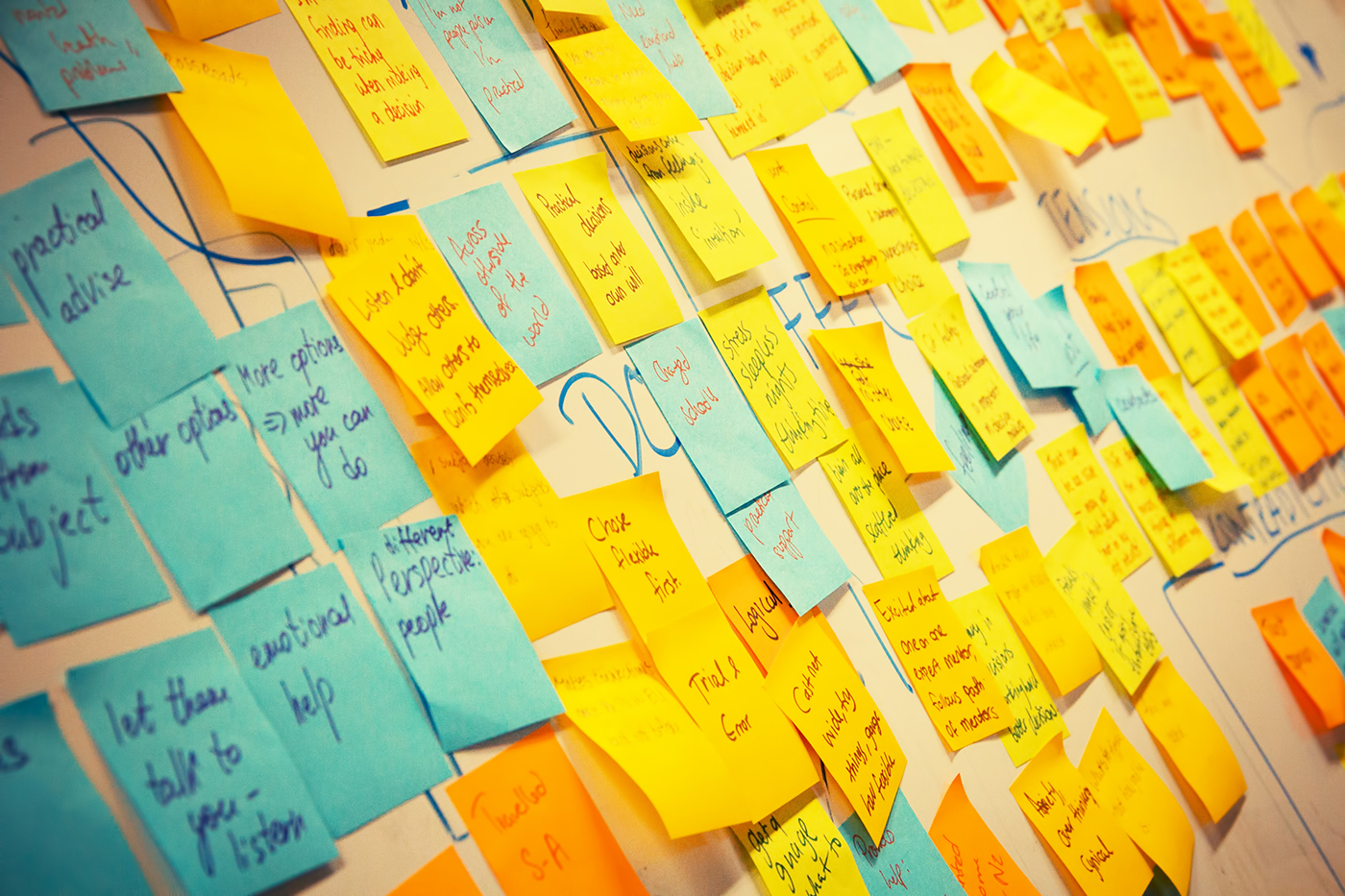 A whiteboard covered in Post-It notes.